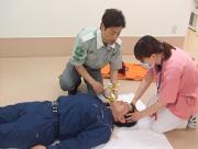 救急隊との実地訓練